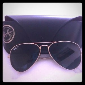 100% Ray Ban Polarized Aviator Sunglasses GUC